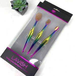 Lavish Sephora 3 pc Oval Rainbow Makeup Brush Set
